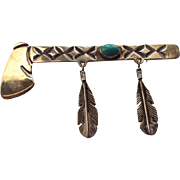 SALE Navajo Tomahawk Sterling Brooch, Native American Artist Crafted, Turquoise Stone!