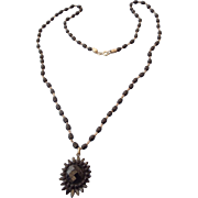 SALE 1940s Victorian Revival Mourning Necklace, Faceted Pendant, Cut Steel Spacers!