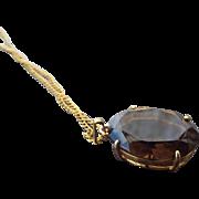 SALE Large Smoky Quartz Gemstone Pendant, 1960s Faceted Treasure!