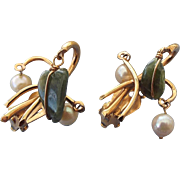SALE Signed KRAMER Mid Century Pearl and Jade Earrings, 1960s!