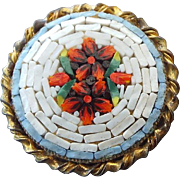 SALE Vintage 1930s Mosaic Brooch Pin, Red Flower Center!