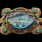 SALE Art Nouveau Elegant Brooch, Aqua Stones Filigree Frame!