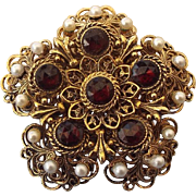 SALE Victorian Revival, Faux Bohemian Faceted Garnet and Pearl Mid Century Brooch, Layered Ele