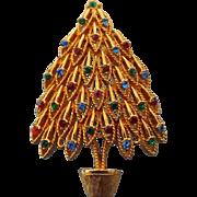 SALE Vintage 1950s Designer Signed Rhinestone Christmas Tree Brooch, Lovely Style!