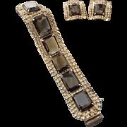 SALE Mid-Century Black Diamond Faceted Rhinestone Bracelet and Earring Set!
