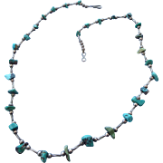 SALE Native American, Turquoise Gemstone and Silver Bead Necklace, Santo Domingo