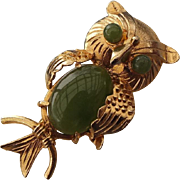 SALE 1960s Natural Jade Gemstone Accented Figural Owl Pendant Brooch!