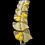 """SALE Vintage 1960s Thermoplastic Cabochon Bracelet, 2"""" Wide, Cool Colors!"""