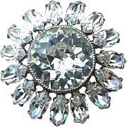 SALE Brilliant 1940s Fancy Prong Set Clear Crystal Rhinestone Pin, Excellent Vintage!