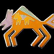 "SALE Rare Designer Laurel Burch ""Bison"" Enamel Brooch, Stylized Buffalo Motif!"