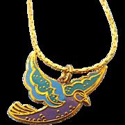 """SALE Rare Laurel Burch """"Kris"""" Bird Pendant Necklace On Original Card!"""