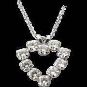 SALE 10k White Gold Pendant Necklace, Sweet Petite Heart Design, 1960s!