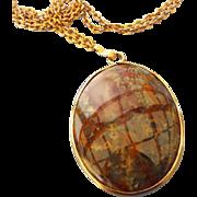SALE Natural Picture Jasper Cabochon Pendant, 1950s Gold Filled Frame!