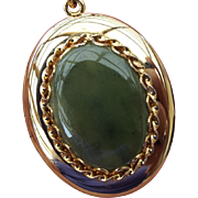 SALE 1960s Jade Cabochon Locket Pendant Necklace, Large Enough for Two Pictures!