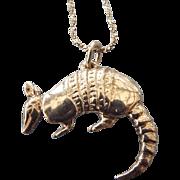 SALE Silver Armadillo Figural Pendant Necklace, Excellent Vintage!