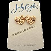 SALE New Old Stock Jody Coyote Rose Heart Pierced Earrings!