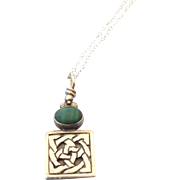 SALE Celtic Motif Sterling and Malachite Petite Pendant Necklace!