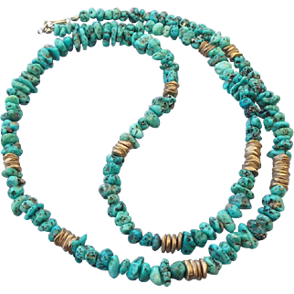 SALE Turquoise Nugget Necklace, 28 Inches Long, Beautiful Gemstone Treasure!