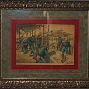 SALE Attack-San Juan Block House Watercolor,1898