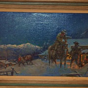 """Old West Painting """"Outside the Post Office""""  by Matt Clark"""