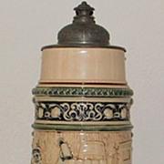 German Hanke 3 Liter Stoneware Covered Stein,c.1895