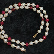 SALE 14K Ruby, Gold and Pearl Necklace