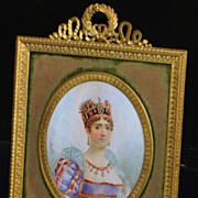 SALE Early French Miniature Portrait  of Empress Josephine,Framed