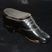"SALE Dutch Papier Mache ""SHOE"" Snuff Box, c. 1860"