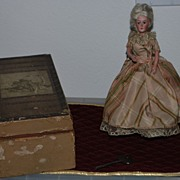 SALE 19th C Key Wind French Bisque Walking Doll & Box