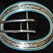 SALE Art Nouveau Large Sterling and Blue Enamel Belt Buckle