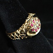 SALE 14K Man's Ruby and Diamond Nugget Style Ring