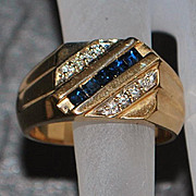 14K Sapphire and Diamond  Signet Ring - 1970's