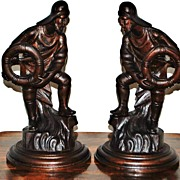 SALE Pair of Carved Wooden Sailor Figurines, c. 1900