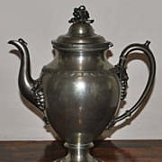 SALE Reed & Barton Pewter Coffee Pot,c.1880