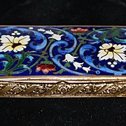 SALE French Champleve Enamel Gild Pill Box - 1900