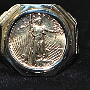 SALE 14K Man's $5.00 Gold Coin Ring - 1988