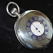 SALE Am. Waltham Sterling Demi-lune  Pocket Watch,1912
