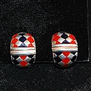 SALE Pair of Italian Flli Menegatti Sterling and Enamel Earrings