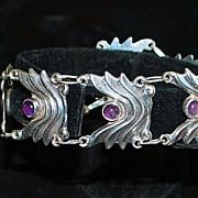 SALE Mexican 980 Silver Amethyst Wave Bracelet - 1980's