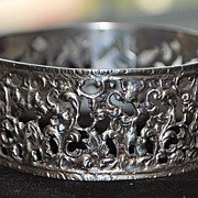 SALE Fancy Italian 800 Silver Large Bangle Bracelet,1920's