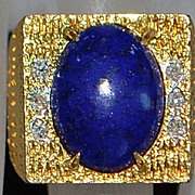SALE 14K  Lapis and Diamond  Fashion Ring - 1980's