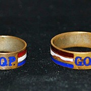 "SALE Pair of GOP-""Grand Old Party"" Campaign Rings,c.1900"