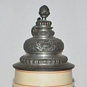 SALE German Porcelain Lithophane Relief 1/2 Liter Stein, c. 1890
