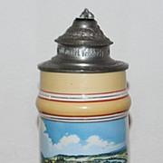 SALE German Porcelain Lithophane 1/2L Stein, c. 1900