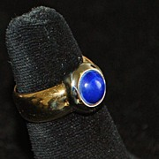 SALE 18K Italian Lapis and Gold Fashion Ring - 1980's