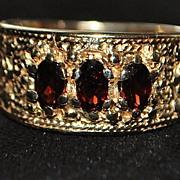 SALE 14K  Etruscan Style Garnet Ring, c.1920