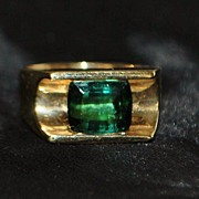 SALE 14K Green Tourmaline   Designer Ring -1980's