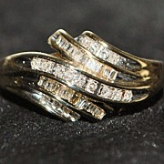 SALE 10K Diamond Channel By-pass Ring - 1980's