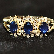 SALE 14K 3 Stone Sapphire and Diamond Ring -1980's