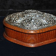 SALE English Edwardian Sterling & Wood Jewelry Box,c.1904